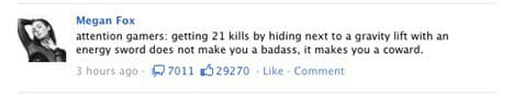 Megan Fox: Halo Facebook Status (30 May 2011)