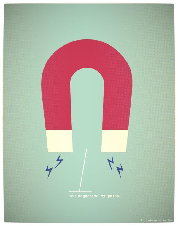 Vamers - Artistry - Minimalist Geek Love Posters - You Magnetise My Poles