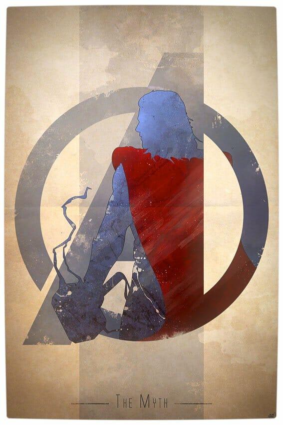 Vamers - Artistry - Anthony Genuardi - Minimalist Avengers Initiative Posters - Thor