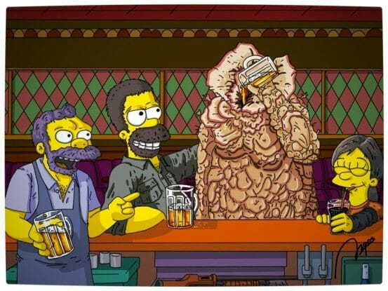 Vamers - Artistry - Gaming - The Last of Springfield - The Last of Us Parody - Homer, Maggie and Mo enjoying a beer with a Bloater