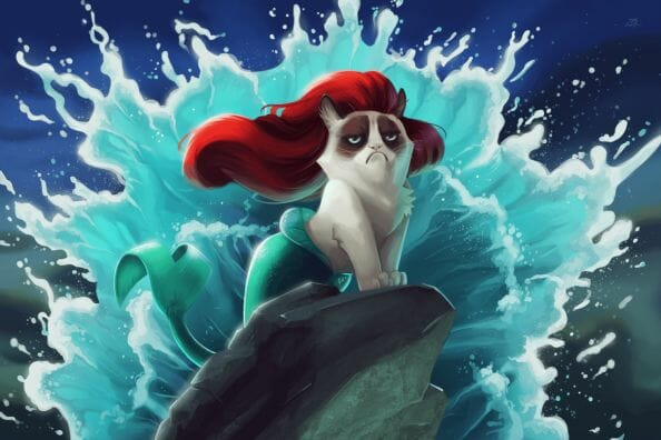 Vamers - Artistry - Grumpy Cat Phtobombs Disney Classics - Artwork by Eric Proctor AKA TsaoShin - Princess Ariel says NO