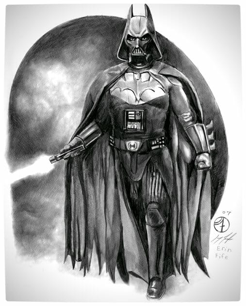 Vamers - Artistry - Bat Vader is The Dark Knight of the Sith - Batman and Darth Vader Mash-Up - Art by Erin Fife