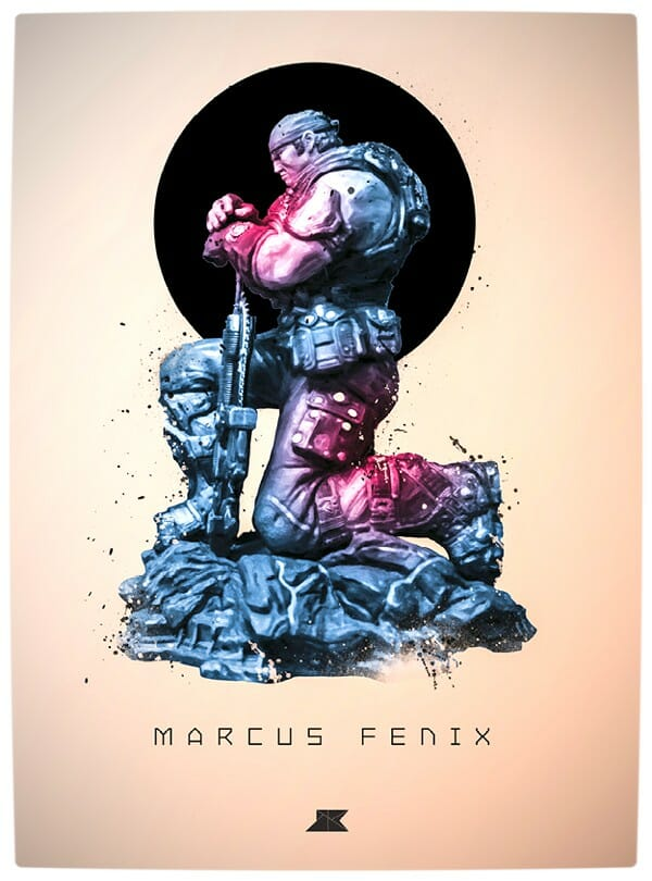 Vamers - Artistry - Beautifully Stylized Posters Of Heroes and Villains - By Josip Kelava - Marcus Fenix