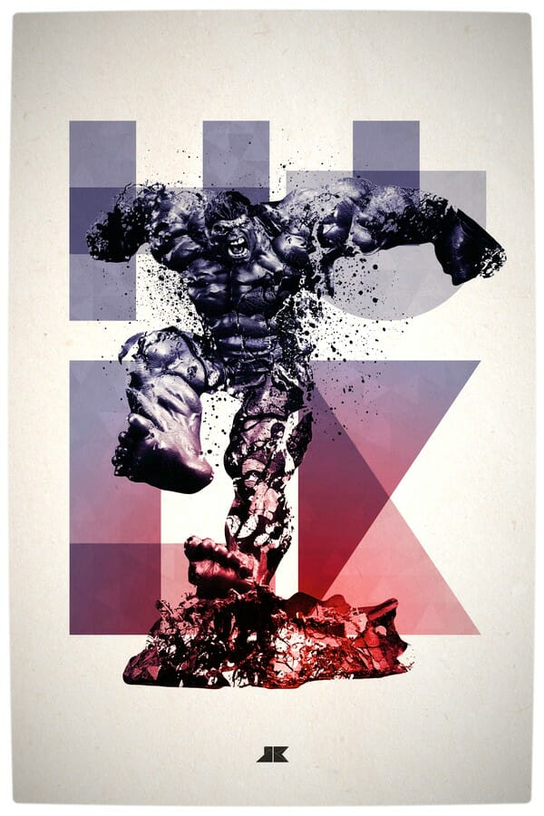Vamers - Artistry - Beautifully Stylized Posters Of Heroes and Villains - By Josip Kelava - The Hulk
