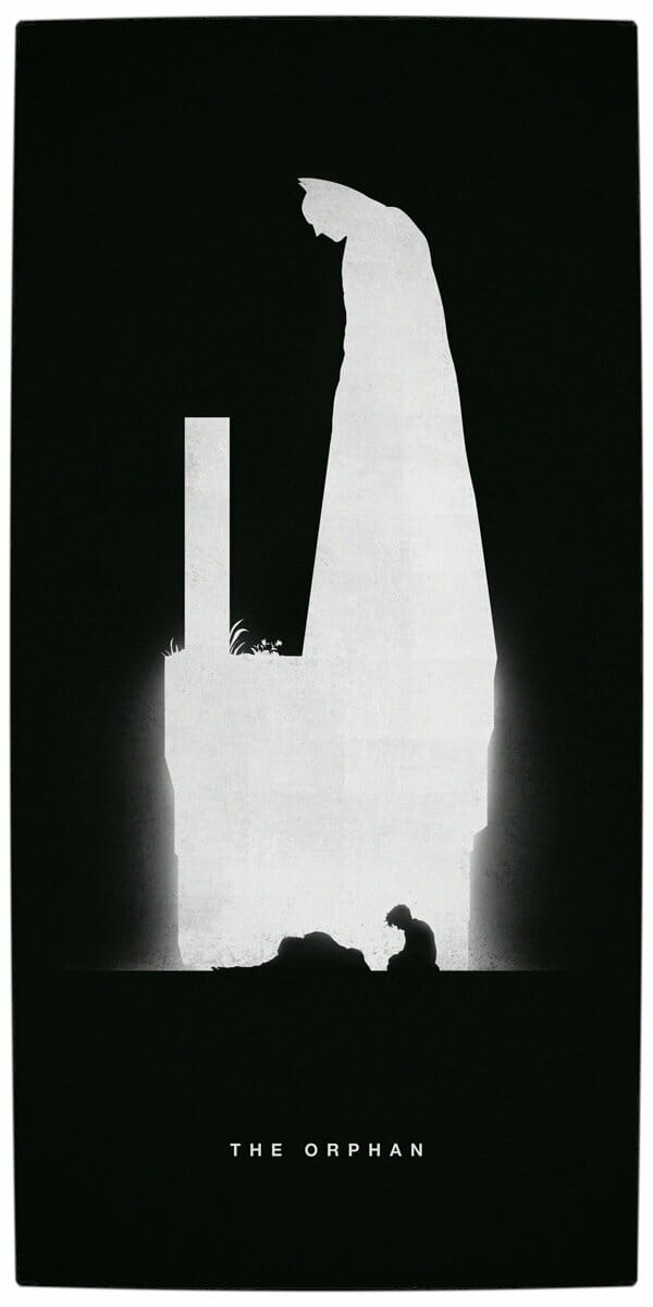 Vamers - Artistry - Superhero Origins Captured in Iconic Black and White Minimalist Posters - Batman - The Orphan