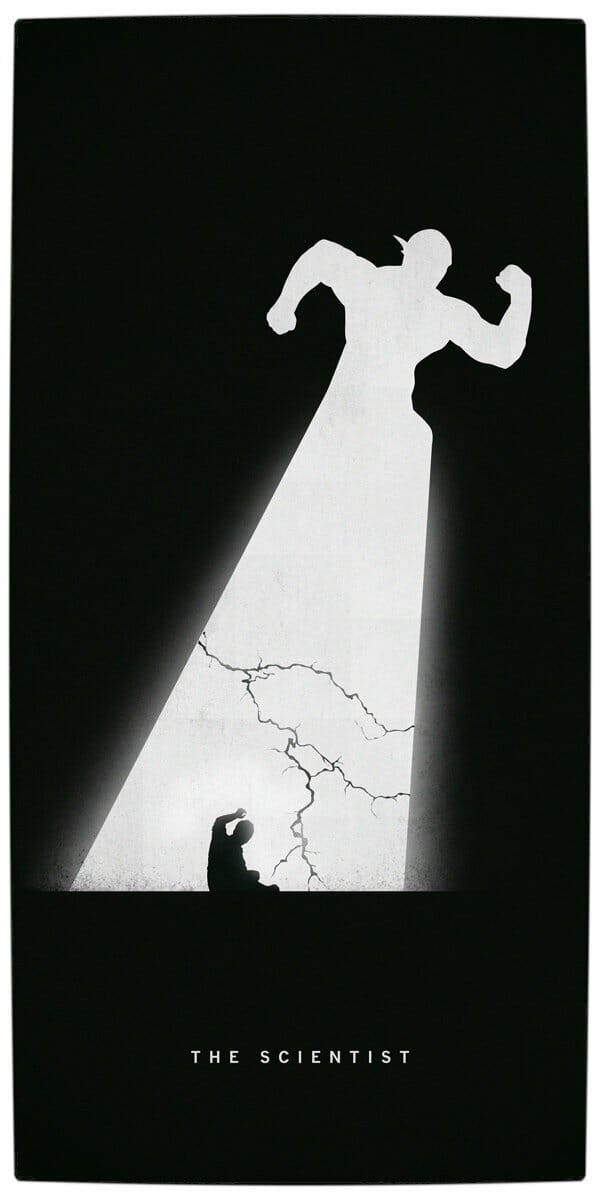 Vamers - Artistry - Superhero Origins Captured in Iconic Black and White Minimalist Posters - Flash - The Scientist