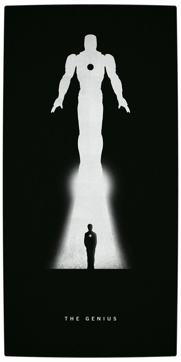 Vamers - Artistry - Superhero Origins Captured in Iconic Black and White Minimalist Posters - Iron Man - The Genius