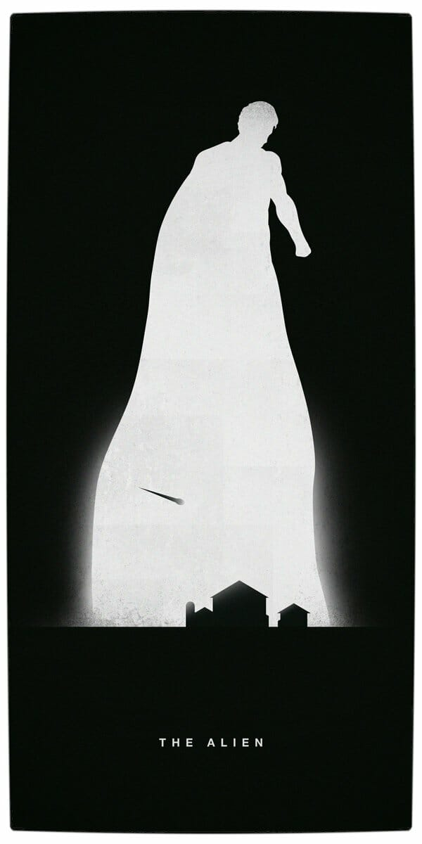 Vamers - Artistry - Superhero Origins Captured in Iconic Black and White Minimalist Posters - Superman - The Alien