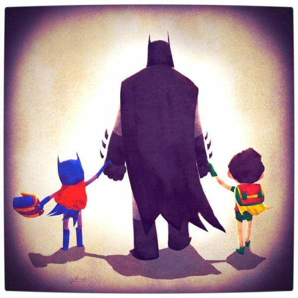 Vamers - Atristry - Marvel and DC Superheroes Walk Their Children to School - Art by Andry Rajoelina - DC - Batman