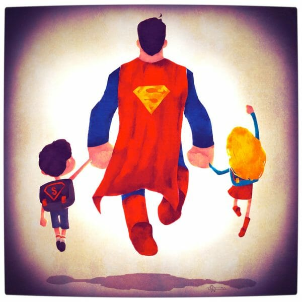 Vamers - Atristry - Marvel and DC Superheroes Walk Their Children to School - Art by Andry Rajoelina - DC - Superman