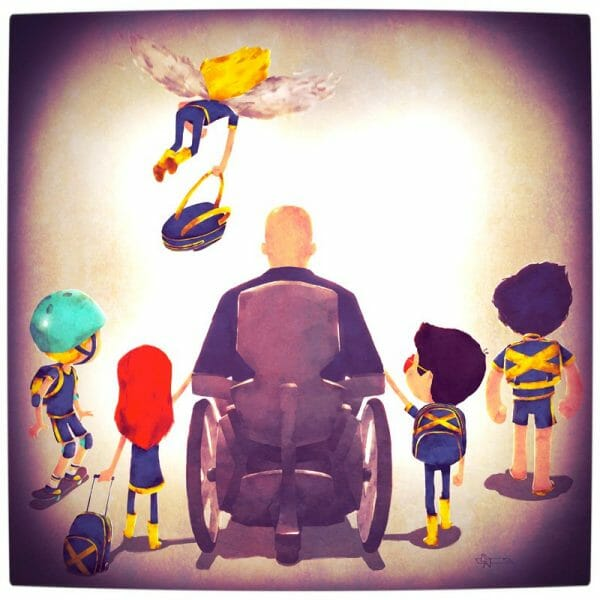 Vamers - Atristry - Marvel and DC Superheroes Walk Their Children to School - Art by Andry Rajoelina - Marvel - Professor Xavier and the Uncanny X-Men