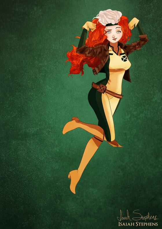 Vamers - Artistry - Disney Princesses Dress as Popular Geek Culture Icons for Halloween by Isaiah Stephens - Merida as Rogue