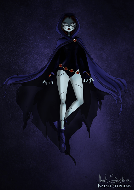 Vamers - Artistry - Disney Princesses Dress as Popular Geek Culture Icons for Halloween by Isaiah Stephens - Sally Skellington as Raven