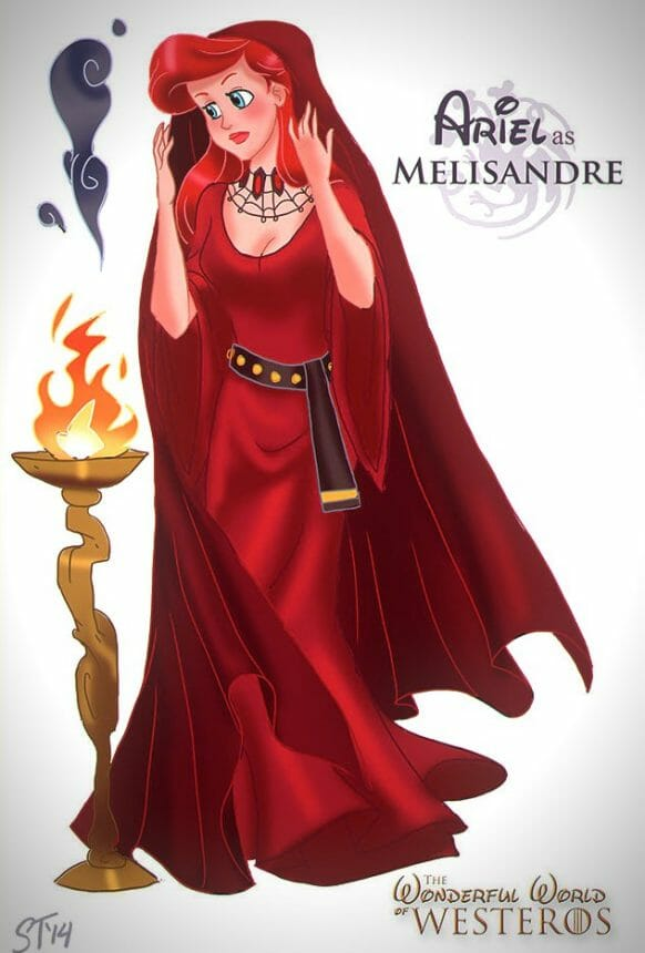 Vamers - Artistry - The Wonderful World of Westeros Imagines Disney Princesses as Game of Thrones Characters - Art by DjeDjehuti - Ariel as Melisandre