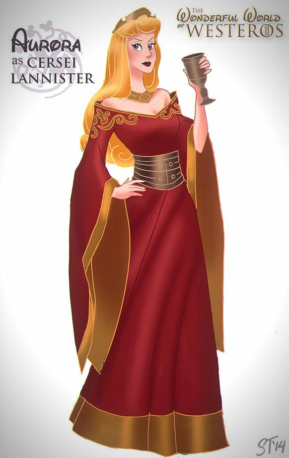 Vamers - Artistry - The Wonderful World of Westeros Imagines Disney Princesses as Game of Thrones Characters - Art by DjeDjehuti - Aurora as Cersei Lannister