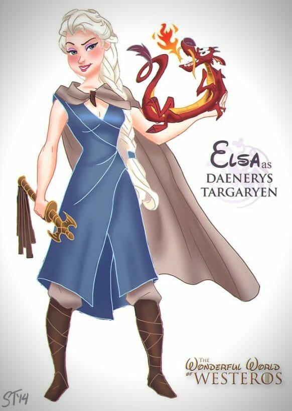 Vamers - Artistry - The Wonderful World of Westeros Imagines Disney Princesses as Game of Thrones Characters - Art by DjeDjehuti - Elsa as Daenerys Targaryen