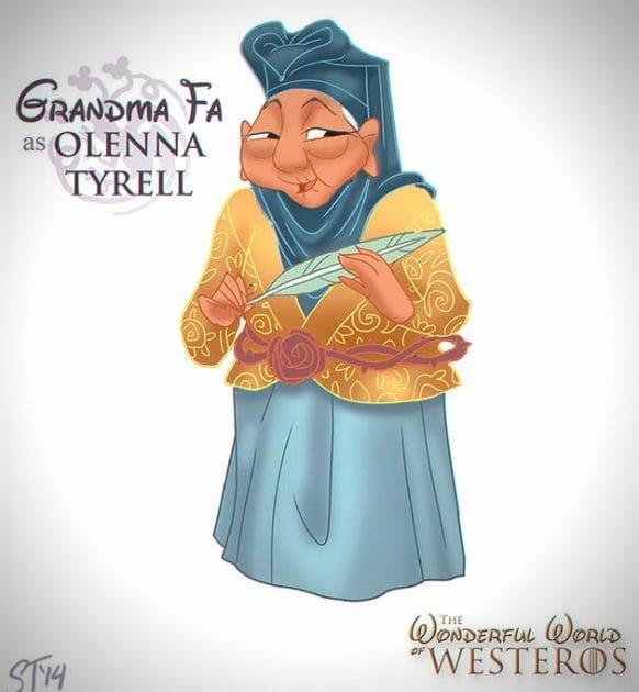 Vamers - Artistry - The Wonderful World of Westeros Imagines Disney Princesses as Game of Thrones Characters - Art by DjeDjehuti - Grandma Fa as Olenna tyrell
