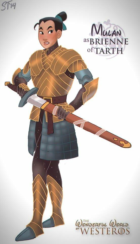 Vamers - Artistry - The Wonderful World of Westeros Imagines Disney Princesses as Game of Thrones Characters - Art by DjeDjehuti - Mulan as Brienne of Tarth