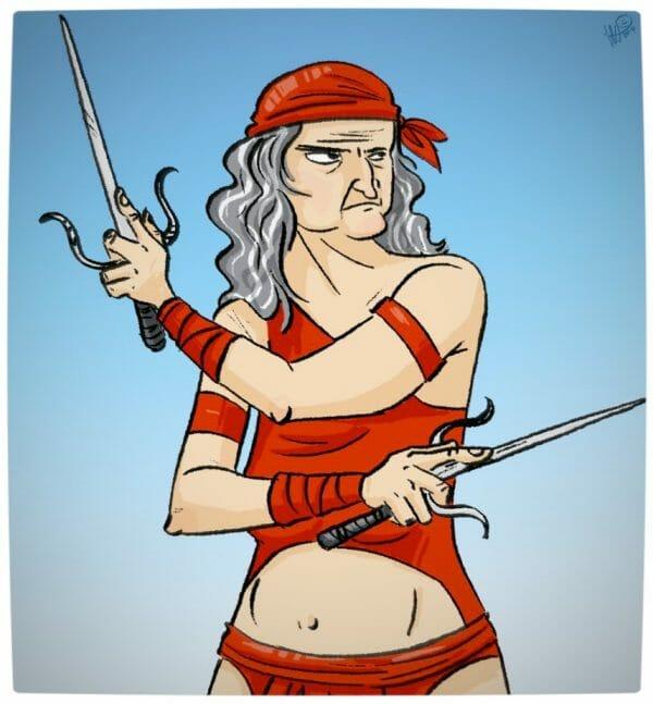 Vamers - Geekosphere - Artistry - Old Superheroes - Heroes in in their Golden Years - Art by Lelpel - Elektra