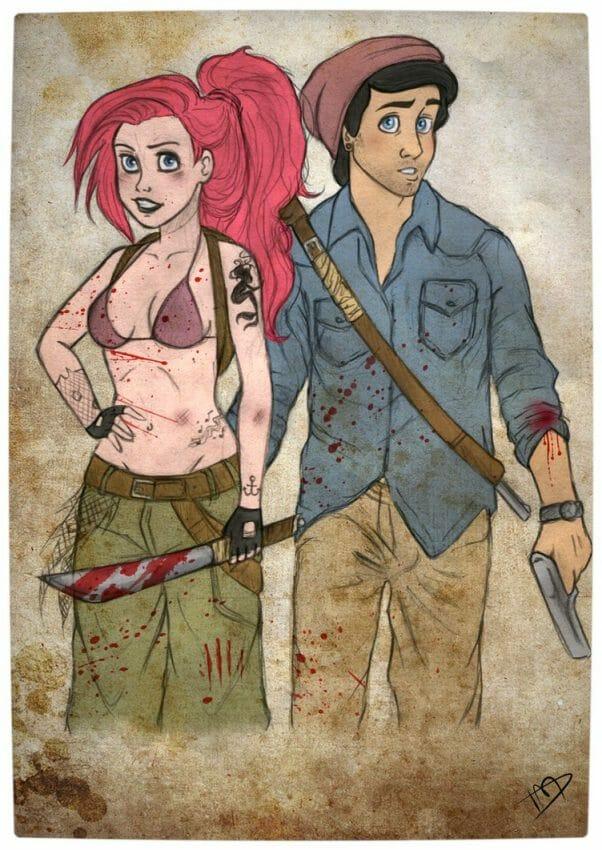 Vamers - Geekosphere - Artistry - 'The Walking Disney' Imagines Disney Royalty as The Walking Dead Survivors - Ariel and Eric
