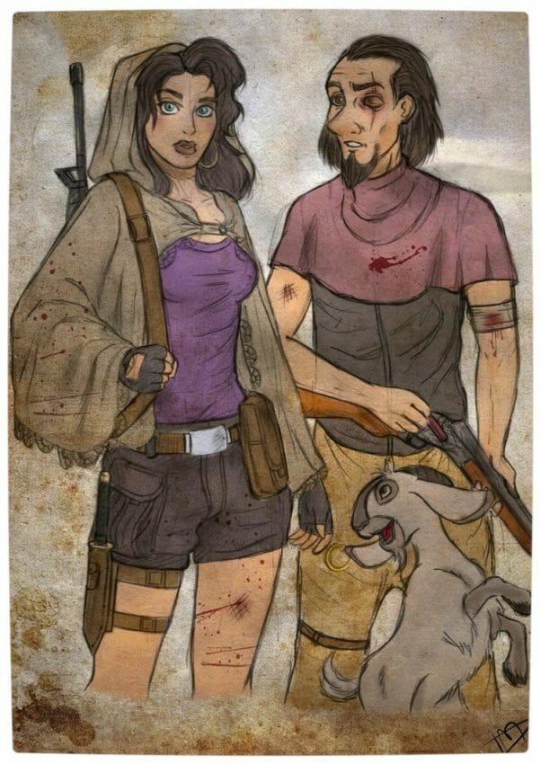 Vamers - Geekosphere - Artistry - 'The Walking Disney' Imagines Disney Royalty as The Walking Dead Survivors - Esmeralda, Clopin and Djali