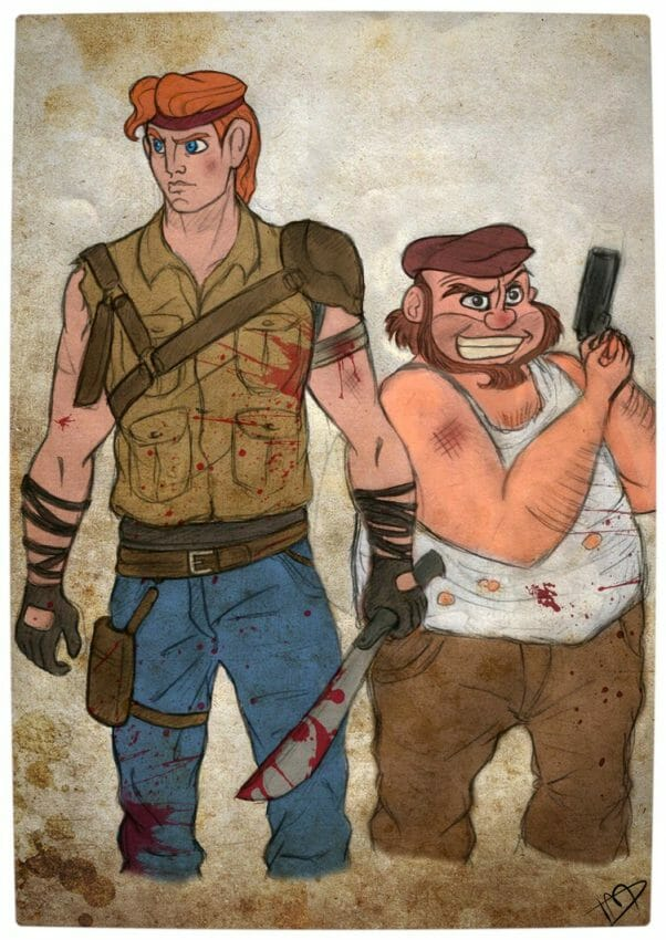 Vamers - Geekosphere - Artistry - 'The Walking Disney' Imagines Disney Royalty as The Walking Dead Survivors - Hercules and Phil