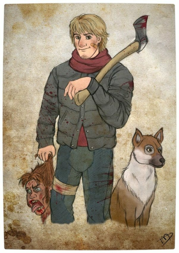 Vamers - Geekosphere - Artistry - 'The Walking Disney' Imagines Disney Royalty as The Walking Dead Survivors - Kristoff and Sven