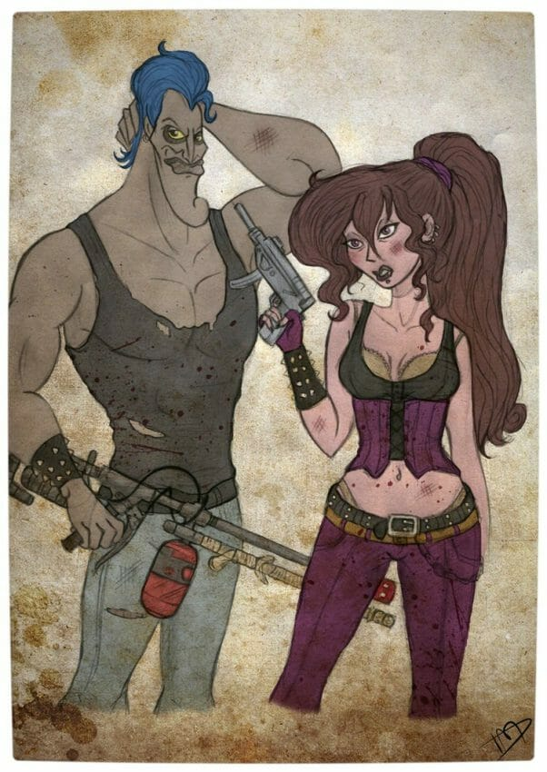 Vamers - Geekosphere - Artistry - 'The Walking Disney' Imagines Disney Royalty as The Walking Dead Survivors - Meg and Hades