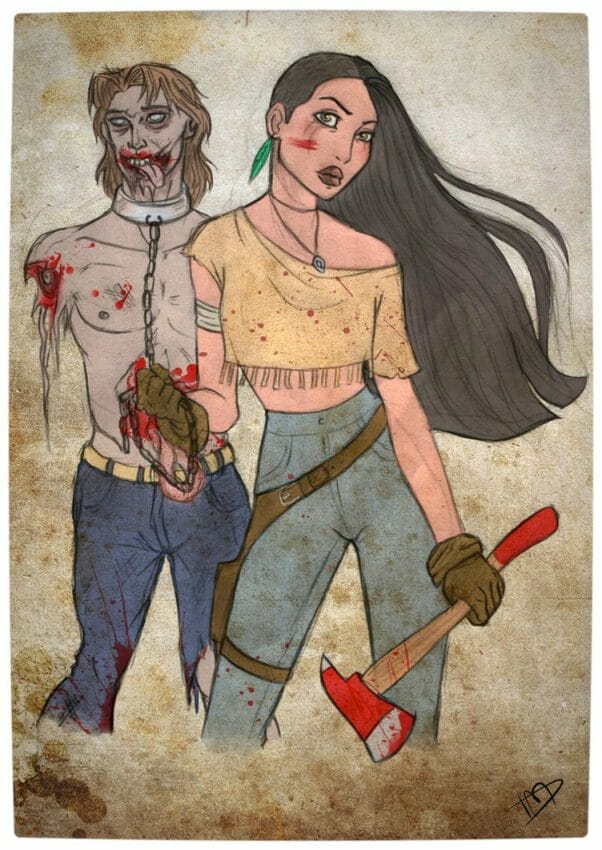 Vamers - Geekosphere - Artistry - 'The Walking Disney' Imagines Disney Royalty as The Walking Dead Survivors - Pocahontas and John