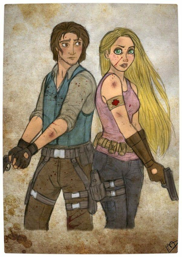 Vamers - Geekosphere - Artistry - 'The Walking Disney' Imagines Disney Royalty as The Walking Dead Survivors - Repunzel and Flynn