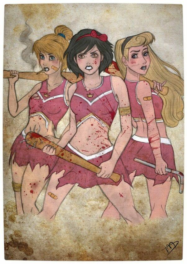 Vamers - Geekosphere - Artistry - 'The Walking Disney' Imagines Disney Royalty as The Walking Dead Survivors - Snow White, Cinderella and Aurora