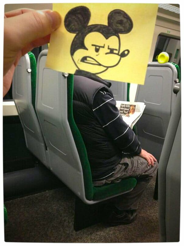 Vamers - Artistry - Illustrator Turns Fellow Commuters Into Cartoon Characters - October Jones - Joe Butcher - Mickey Mouse