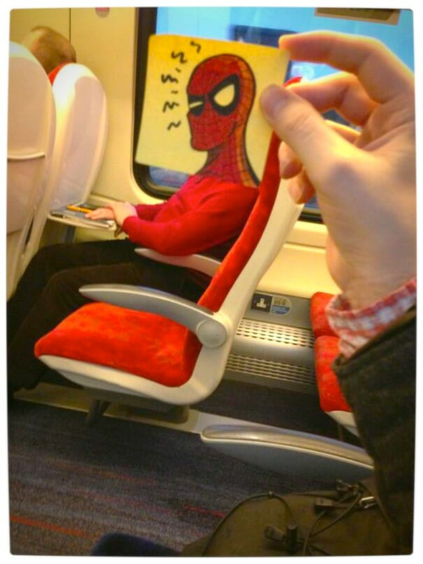 Vamers - Artistry - Illustrator Turns Fellow Commuters Into Cartoon Characters - October Jones - Joe Butcher - Spider-Man