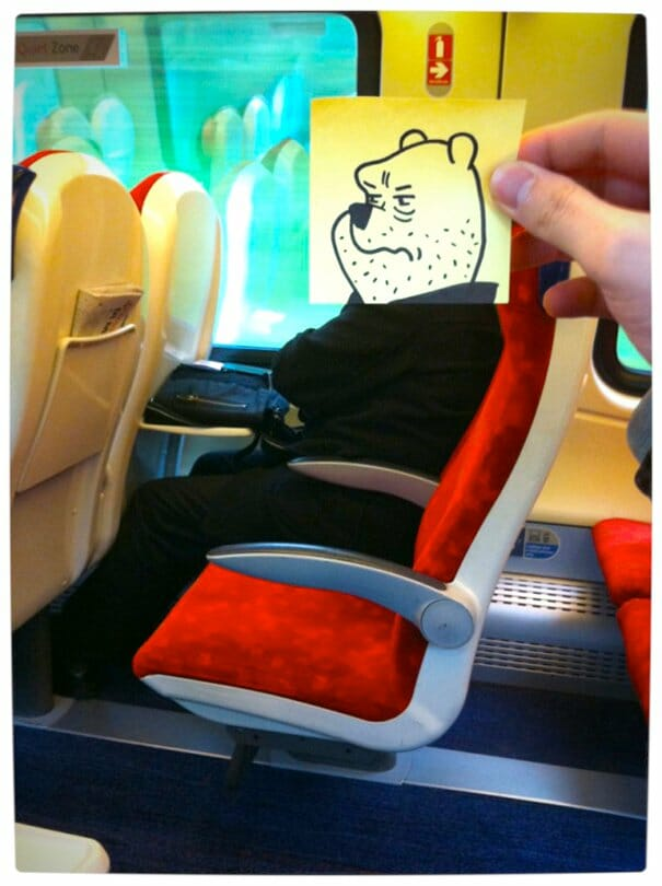 Vamers - Artistry - Illustrator Turns Fellow Commuters Into Cartoon Characters - October Jones - Joe Butcher - Winnie the Poo