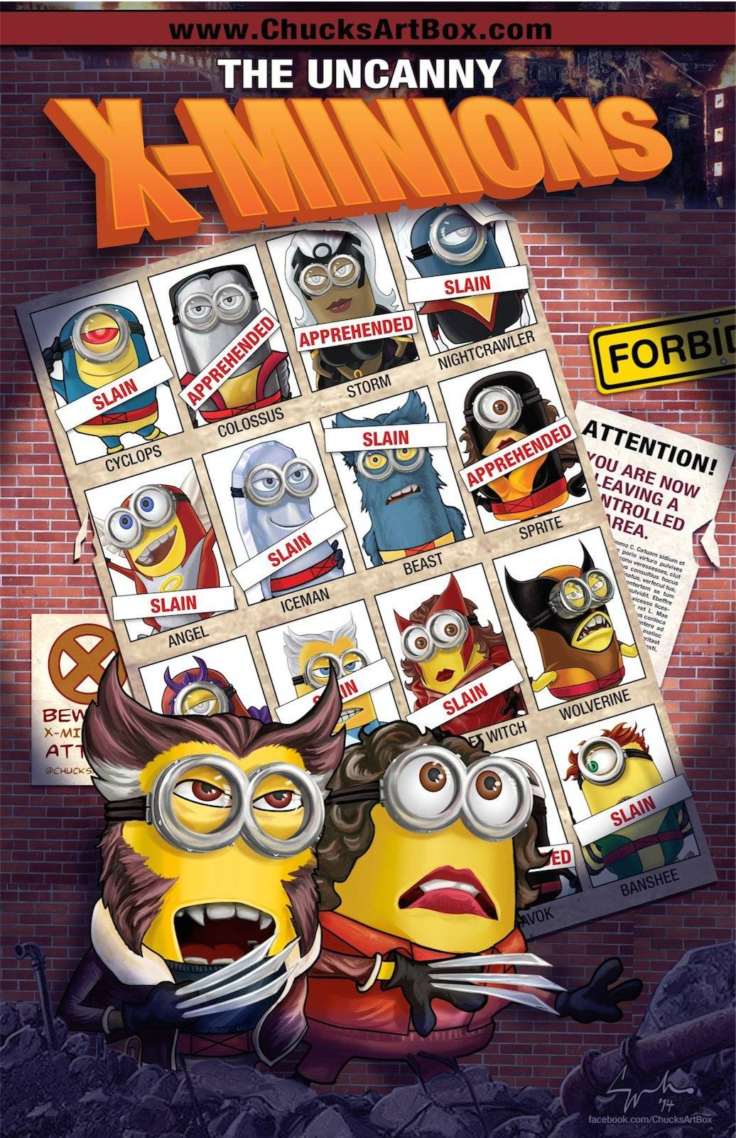 Vamers - Artistry - X-MINIONS Days of Future Past - Despicable Me Minions as X-MEN - Uncanny X-MEN Poster