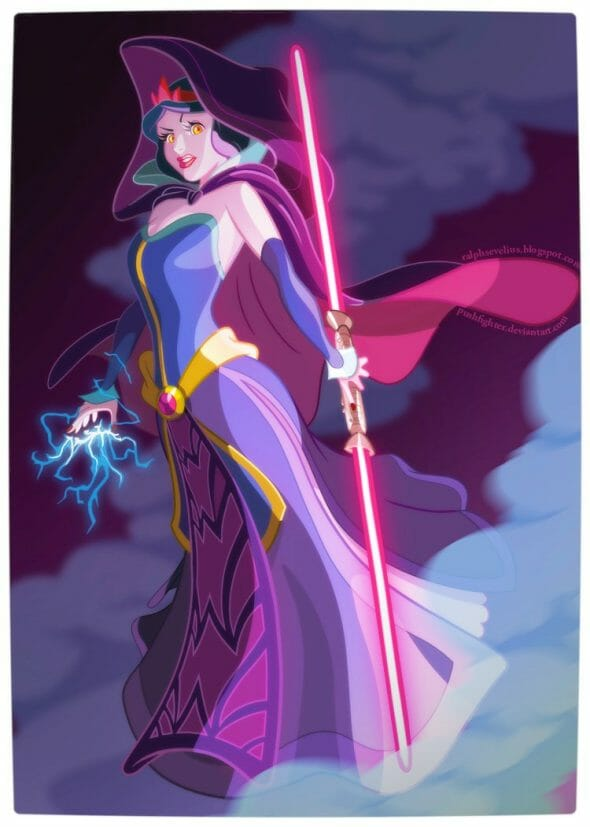 Vamers - Geekosphere - Artistry - Disney Princesses Transformed into Star Wars Sith and Jedi - Art by Pushfighter - Princess Snow White as a Sith Lord