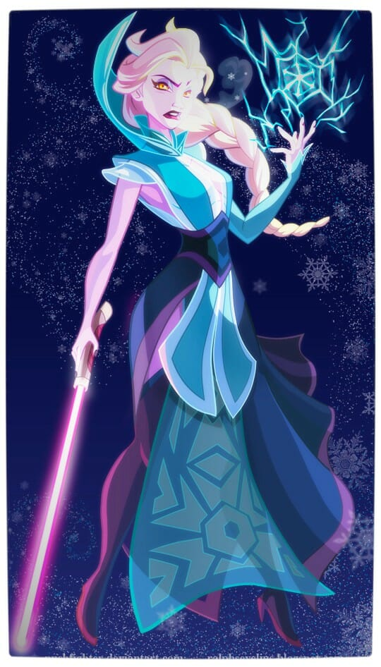 Vamers - Geekosphere - Artistry - Disney Princesses Transformed into Star Wars Sith and Jedi - Art by Pushfighter - Queen Elsa as a Sith Lord