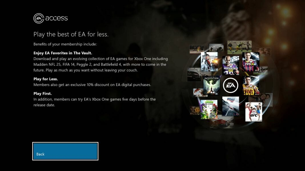 Vamers - FYI - Gaming - EA Access Subscription Gaming Service is Exclusive to Xbox One - EA Access Benefits