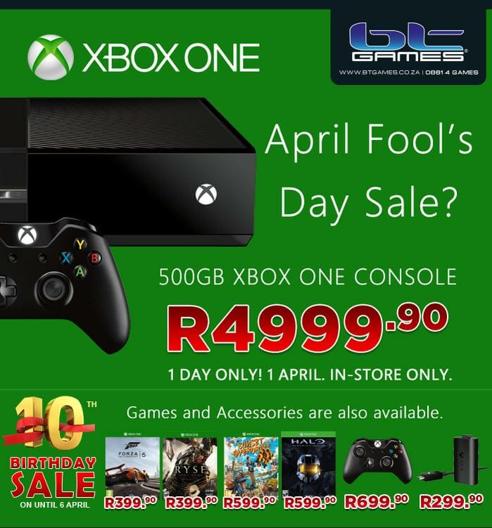 Vamers - FYI - BT Games Stores - Xbox One April Fool's Special - R4999