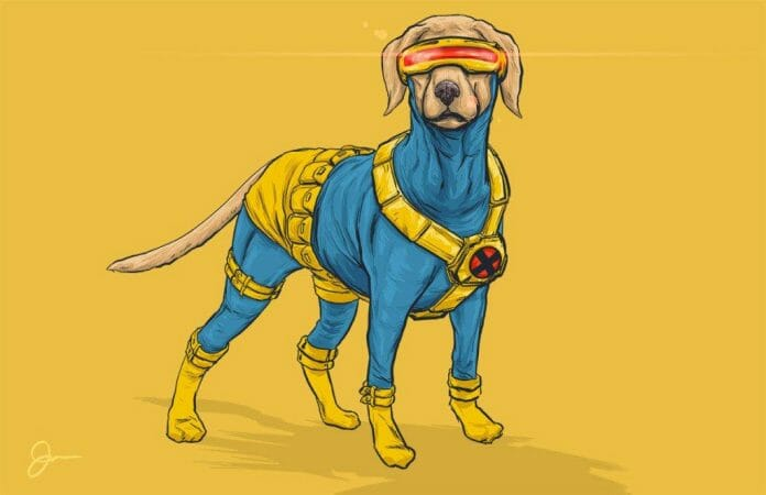 Vamers - Artistry - Fandom - Artist Josh Lynch Imagines Dogs as Superheroes from the Marvel Universe - Cyclops