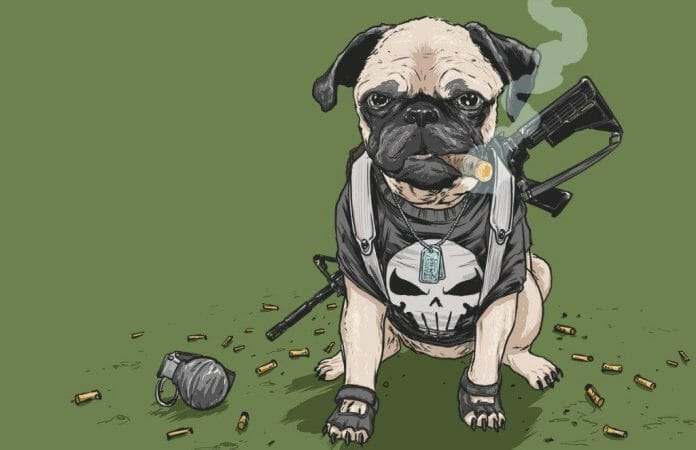 Vamers - Artistry - Fandom - Artist Josh Lynch Imagines Dogs as Superheroes from the Marvel Universe - Punisher