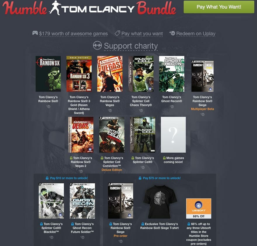 Vamers - FYI - Gaming - Ubisoft Wants You to Be Charitable with the Humble Tom Clancy Bundle - Bundles