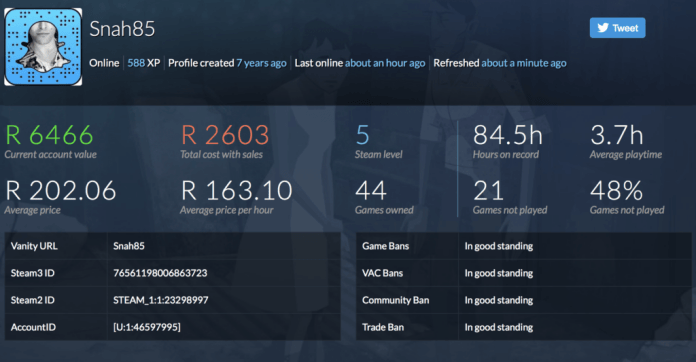 Vamers - FYI - Gaming - How Much is Your Steam Account Worth - Find Out with this Handy Tool - Snah85 Account Worth 01